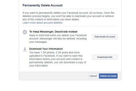 حذف حساب فيس بوك بعد 30 يوم
