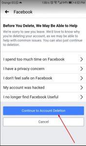 حذف حساب فيس بوك نهائيا فورا من على الهاتف