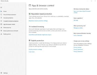 مميزات الحماية في ويندوز 10